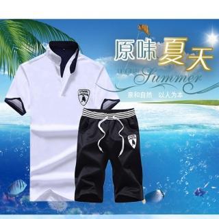 【NBL】L03391韓版POLO衫短褲套裝(立領運動休閒套裝)  NBL