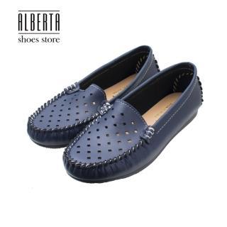 【Alberta】鞋面菱形透氣孔洞純色百搭豆豆鞋底莫卡辛鞋 推薦  Alberta