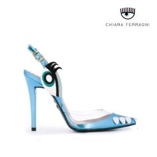 【Chiara Ferragni】HOLLY側臉繫帶高跟鞋-紅/藍色(高跟涼鞋)  Chiara Ferragni