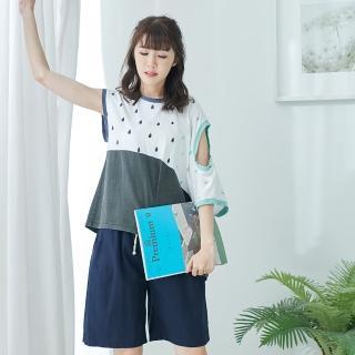 【*KatieQ 慢。生活】斜肩挖空設計款連袖上衣-F(粉紅/淺藍)好評推薦  *KatieQ 慢。生活