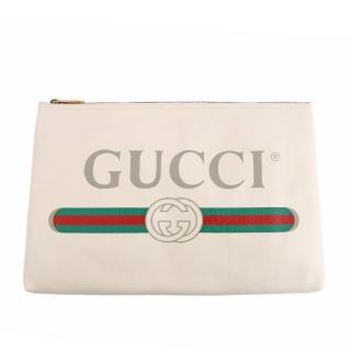 【GUCCI 古馳】小牛皮復古綠紅綠LOGO手拿包(白色)強力推薦  GUCCI 古馳