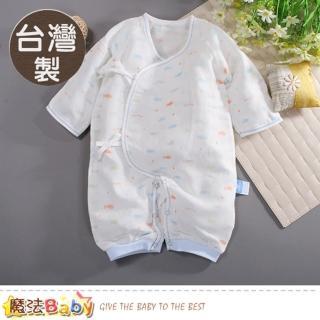 【魔法Baby】包屁衣 台灣製薄款純棉紗布護手綁帶兔衣 連身衣(b0047)  魔法Baby