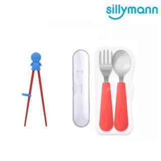 【韓國sillymann】100%鉑金矽膠不鏽鋼幼童湯匙叉子餐具組+學習筷超值組  sillymann