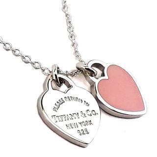 【Tiffany&Co. 蒂芙尼】心心相映迷你吊牌墜飾925純銀粉紅瓷項鍊強力推薦  Tiffany&Co. 蒂芙尼