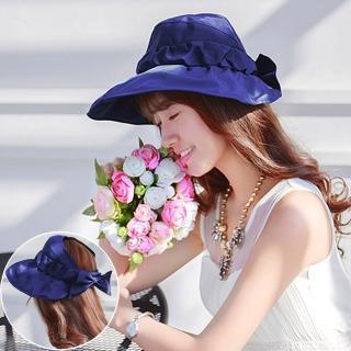 【Seoul Show首爾秀】seoul show首爾秀 半空頂軟絲帽簷可折疊防曬遮陽帽(藏青)  Seoul Show首爾秀