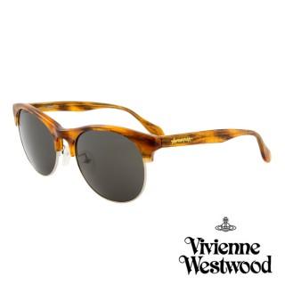 【Vivienne Westwood】英國薇薇安魏斯伍德時尚經典眉框太陽眼鏡(琥珀 AN763M03)  Vivienne Westwood