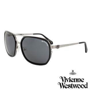【Vivienne Westwood】英國薇薇安魏斯伍德精品典雅雕刻款太陽眼鏡(黑 AN771M01) 推薦  Vivienne Westwood