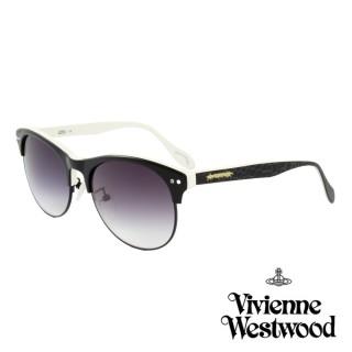 【Vivienne Westwood】英國薇薇安魏斯伍德經典眉框鑲鑽水銀鏡面太陽眼鏡(黑 AN763M01)  Vivienne Westwood