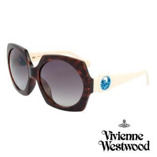 【Vivienne Westwood】英國薇薇安魏斯伍德經典六角大面框太陽眼鏡(琥珀 VW777M01)強力推薦  Vivienne Westwood