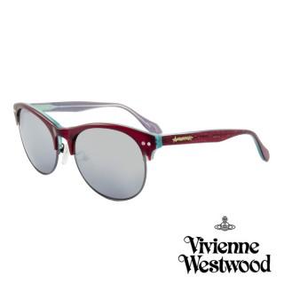 【Vivienne Westwood】英國薇薇安魏斯伍德經典眉框鑲鑽水銀鏡面太陽眼鏡(酒紅 AN763M02)  Vivienne Westwood