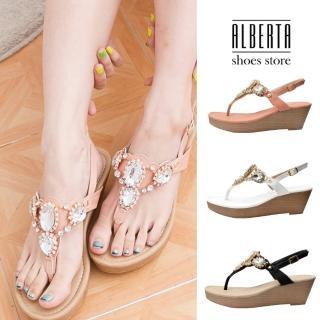 【Alberta】MIT台灣製 璀璨寶石 仿木紋側扣 楔型厚底 夾腳涼鞋  Alberta