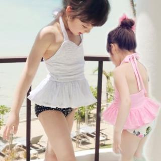 【小衣衫童裝】公主款繫帶蕾絲二件式泳裝附泳帽(1070503)  小衣衫童裝