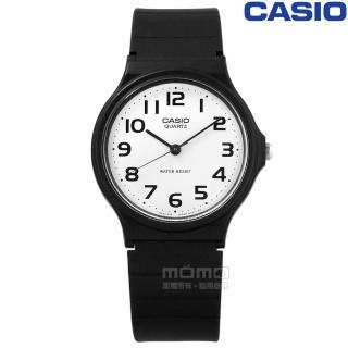【CASIO 卡西歐】簡潔復刻 數字時標 日本機芯 橡膠手錶 白x黑 33mm(MQ-24-7B2) 推薦  CASIO 卡西歐