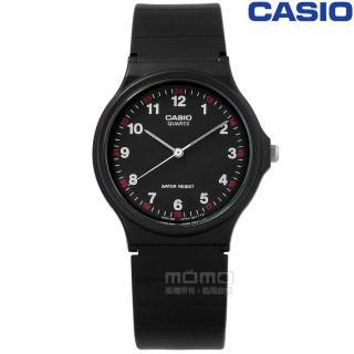 【CASIO 卡西歐】簡潔復刻 數字時標 日本機芯 橡膠手錶 黑色 33mm(MQ-24-1B)強力推薦  CASIO 卡西歐