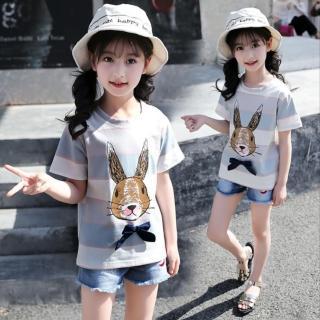 【小衣衫童裝】中大童寬條小兔子蝴蝶結短袖T恤(1070524)  小衣衫童裝