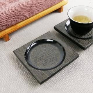 【生活禪】玄武岩石雕茶盤-小方杯墊 2入 B21-A05(9x9x1.5cm)  生活禪
