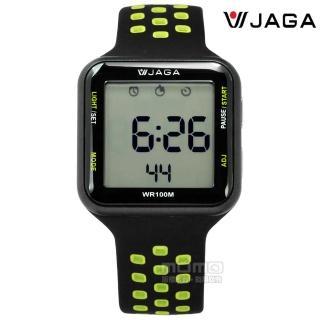 【JAGA捷卡】方型電子 計時碼錶 鬧鈴 防水100米 透氣運動 矽膠手錶 黑綠色 38mm(M1179C-AF)  JAGA捷卡