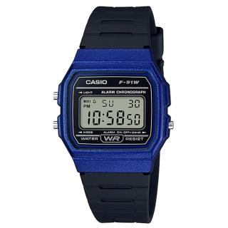 【CASIO 卡西歐】復古方形電子男錶 樹脂錶帶 黑色錶面 防水 碼錶功能(F-91WM-2A) 推薦  CASIO 卡西歐