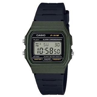 【CASIO 卡西歐】復古方形電子男錶 樹脂錶帶 黑色錶面 防水 碼錶功能(F-91WM-3A)  CASIO 卡西歐