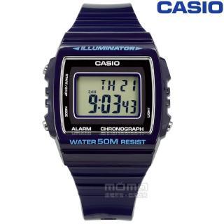 【CASIO 卡西歐】計時碼錶 LED照明 鬧鈴 電子數位 橡膠手錶 深藍紫色 38mm(W-215H-2A)推薦折扣  CASIO 卡西歐