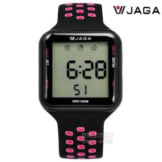 【JAGA捷卡】方型電子 計時碼錶 鬧鈴 防水100米 透氣運動 矽膠手錶 黑粉色 38mm(M1179C-AG)  JAGA捷卡