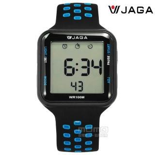 【JAGA捷卡】方型電子 計時碼錶 鬧鈴 防水100米 透氣運動 矽膠手錶 黑藍色 38mm(M1179C-AW) 推薦  JAGA捷卡