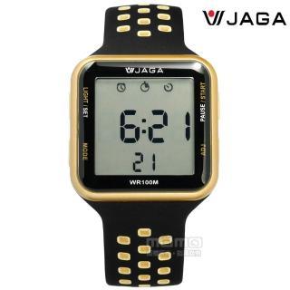【JAGA捷卡】方型電子 計時碼錶 鬧鈴 防水100米 透氣運動 矽膠手錶 黑金色 38mm(M1179C-AL)  JAGA捷卡