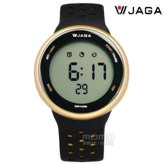 【JAGA捷卡】電子運動 倒數計時 鬧鈴 防水100米 透氣矽膠手錶 黑金色 44mm(M1185-AL1)  JAGA捷卡