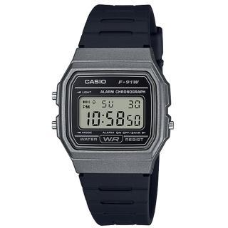 【CASIO 卡西歐】復古方形電子男錶 樹脂錶帶 黑色錶面 防水 碼錶功能(F-91WM-1B)真心推薦  CASIO 卡西歐