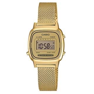 【CASIO 卡西歐】輕巧電子女錶 不鏽鋼錶帶 金色錶面 防水 碼錶功能(LA670WEMY-9D)  CASIO 卡西歐