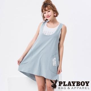 【PLAYBOY】粉嫩色系短版背心(粉藍色)  PLAYBOY
