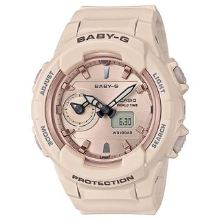 【CASIO 卡西歐】柔和氣質雙顯女錶 樹脂錶帶 防水100米 世界時間(BGA-230SA-4A)  CASIO 卡西歐