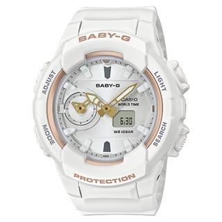 【CASIO 卡西歐】柔和氣質雙顯女錶 樹脂錶帶 防水100米 世界時間(BGA-230SA-7A)  CASIO 卡西歐