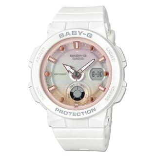 【CASIO 卡西歐】海洋風情雙顯女錶 樹脂錶帶 防水100米 世界時間(BGA-250-7A2)強力推薦  CASIO 卡西歐