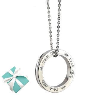 【Tiffany&Co. 蒂芙尼】1837系列925純銀大圓戒墜飾項鍊  Tiffany&Co. 蒂芙尼