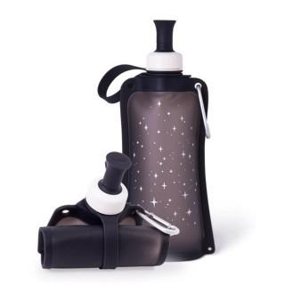 【韓國sillymann】100%時尚便攜捲式鉑金矽膠水瓶-550ml(星空黑)推薦折扣  sillymann