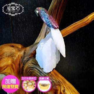 【A1寶石】頂級彩色水晶鳥-白水晶簇/同聚寶盆發財樹水晶洞功效(送五行碎石晶鑽元寶)  A1寶石