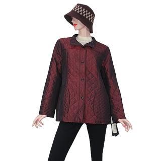【DAKS】經典格紋防潑水外套(金屬光酒紅色)強力推薦  DAKS
