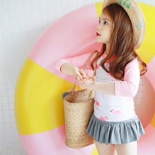 【小衣衫童裝】韓風火鶴鳥泳衣泳褲泳帽三件式套裝(1070605)真心推薦  小衣衫童裝