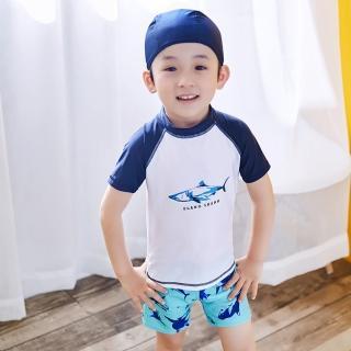 【小衣衫童裝】男童清爽二件式短袖泳衣泳褲送泳帽(1070604)  小衣衫童裝