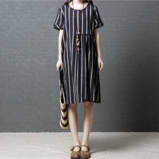 【A.Cheter】時尚舒適圓領短袖條紋洋裝102474(2色)強力推薦  A.Cheter