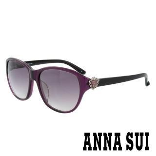 【ANNA SUI 安娜蘇】香氛花園皇室貴族風品牌徽章太陽眼鏡(紫- AS881M731)強力推薦  ANNA SUI 安娜蘇