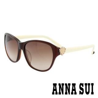 【ANNA SUI 安娜蘇】香氛花園皇室貴族風品牌徽章太陽眼鏡(復古棕- AS881M105) 推薦  ANNA SUI 安娜蘇