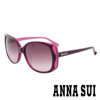【ANNA SUI 安娜蘇】香氛花園獨特雙色波浪百變女仕款太陽眼鏡(粉紫 -AS891M763) 推薦  ANNA SUI 安娜蘇