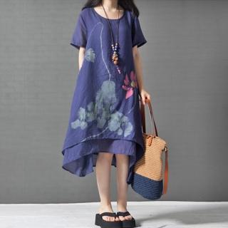 【A.Cheter】圓領雙層水墨荷花印花短袖洋裝102471(深藍)  A.Cheter