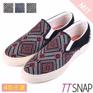 【TTSNAP】樂福鞋-MIT圖騰編織懶人鞋(紅/黃/藍/綠)好評推薦  TTSNAP