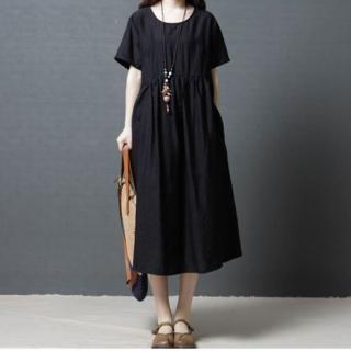 【A.Cheter】素雅棉麻文青風寬鬆洋裝102558(2色)  A.Cheter