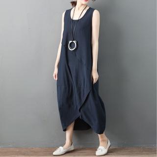 【A.Cheter】寬肩藝術側車線造型設計寬鬆背心洋裝102567(藍)  A.Cheter
