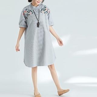 【A.Cheter】日系大碼刺繡棉麻感條紋短袖洋裝102517(條紋)強力推薦  A.Cheter