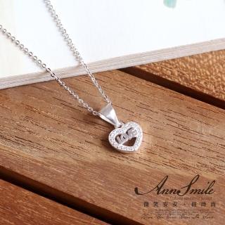 【微笑安安】晶鑽愛心925純銀項鍊 推薦  微笑安安